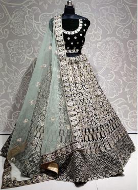 Titillating Embroidered Velvet Bollywood Lehenga Choli