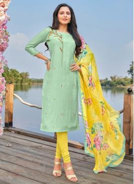 Titillating Green Embroidered Churidar Salwar Suit