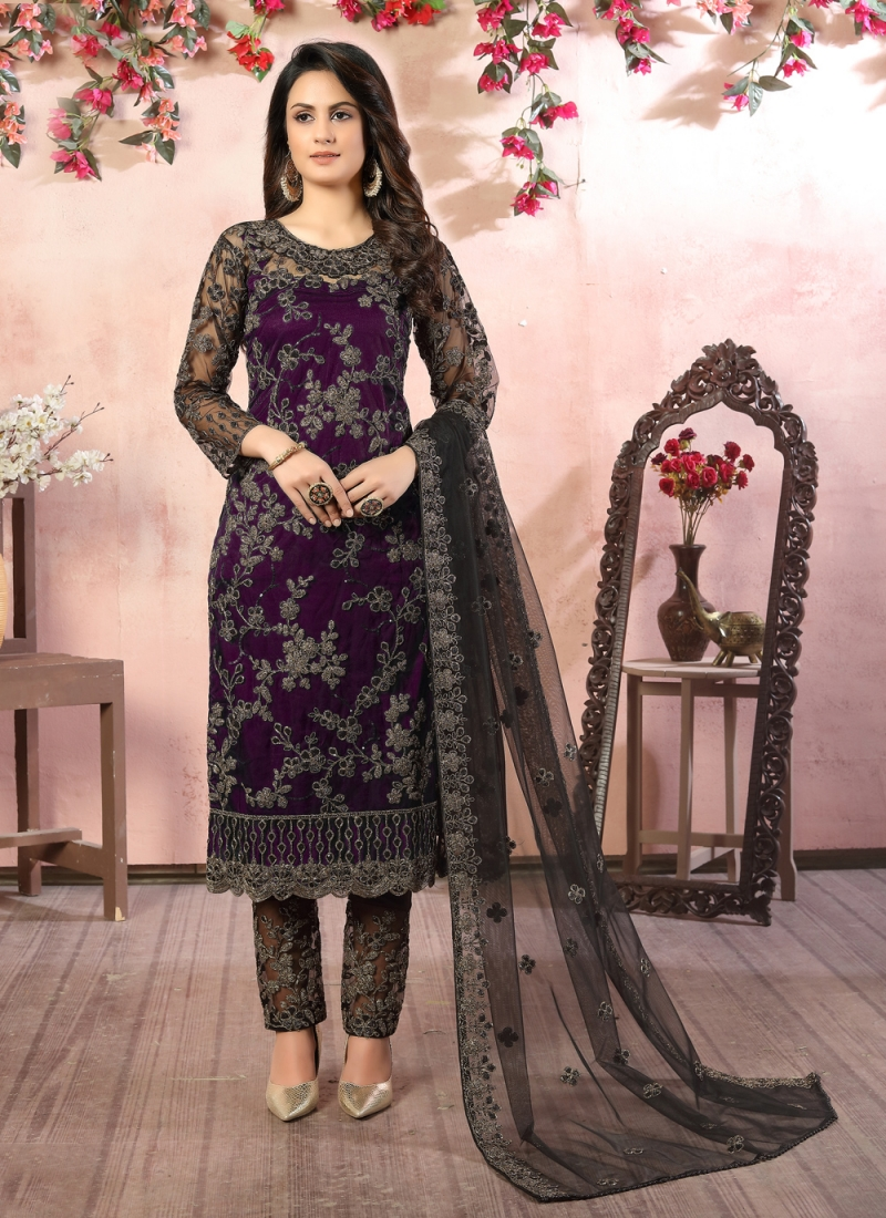 Topnotch Embroidered Black and Purple Net Pant Style Suit