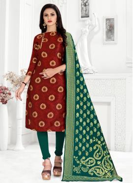 Topnotch Weaving Banarasi Silk Maroon Churidar Designer Suit
