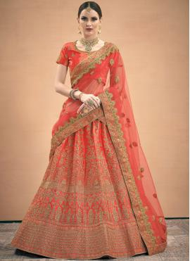 Topnotch Zari Satin Red A Line Lehenga Choli
