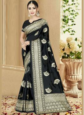 Traditional Designer Saree Embroidered Art Silk in Black