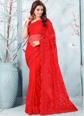 Traditional Designer Saree Embroidered Net in Red