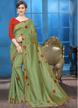 Traditional Designer Saree Patch Border Silk in Green