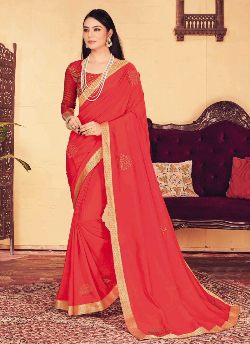 Traditional Designer Saree Patch Border Silk in Red