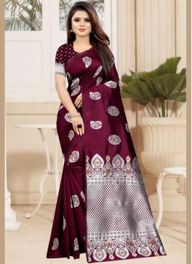 Traditional Designer Saree Weaving Art Silk in Wine