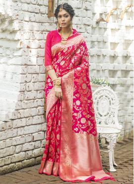 Traditional Designer Saree Weaving Banarasi Silk in Hot Pink