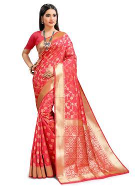 Traditional Designer Saree Weaving Silk in Peach