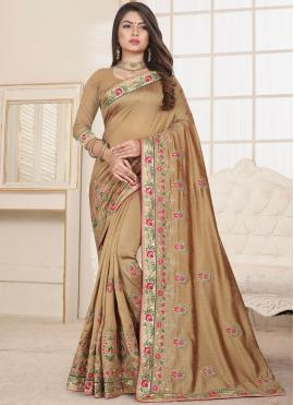 Traditional Saree Embroidered Fancy Fabric in Beige