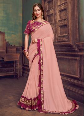 Traditional Saree Resham Silk in Pink