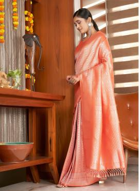 Traditional Saree Weaving Raw Silk in Peach