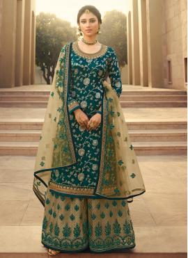 Transcendent Embroidered Green Jacquard Silk Palazzo Designer Salwar Kameez