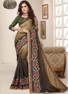 Transcendent Green Embroidered Art Silk Trendy Saree