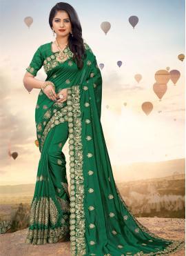 Transcendent Silk Embroidered Green Designer Saree