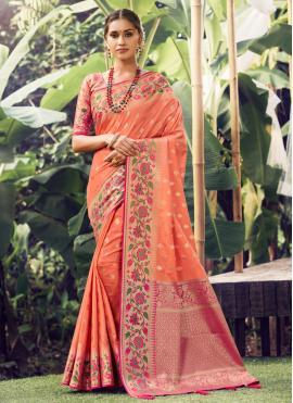 Transcendent Weaving Peach Silk Traditional Designer Saree
