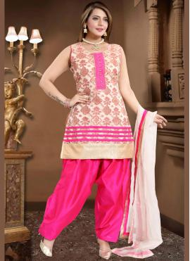 Trendy Cream and Pink Fancy Readymade Suit