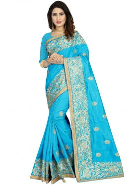 Trendy Embroidered Art Silk Classic Designer Saree