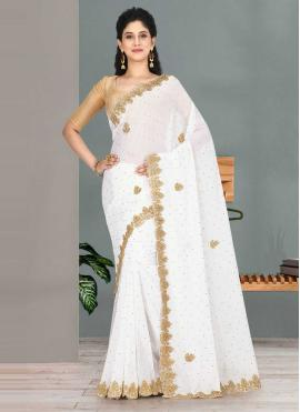 Trendy Embroidered Faux Georgette Off White Traditional Saree