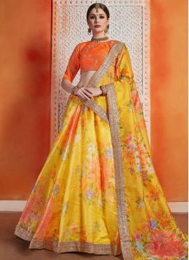 Trendy Lehenga Choli Sequins Organza in Orange and Yellow
