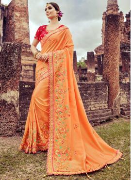 Trendy Peach Resham Designer Saree