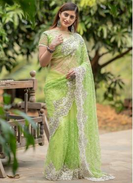 Trendy Saree Fancy Net in Green
