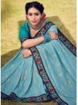 Trendy Saree Foil Print Cotton Silk in Blue - 1