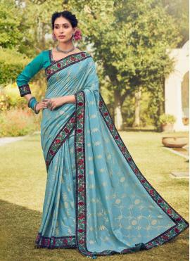 Trendy Saree Foil Print Cotton Silk in Blue