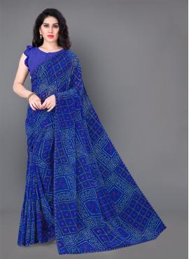 Trendy Saree Printed Faux Georgette in Blue