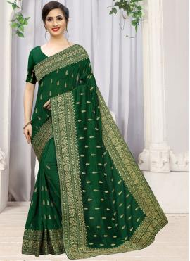 Trendy Silk Green Embroidered Traditional Saree