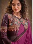 Trendy Silk Wine Readymade Anarkali Suit - 1