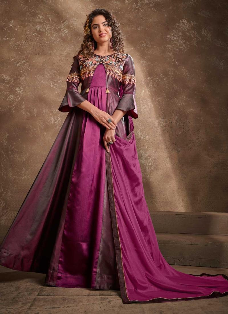 Trendy Silk Wine Readymade Anarkali Suit