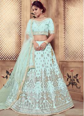 Turquoise Art Silk Sangeet Designer Lehenga Choli