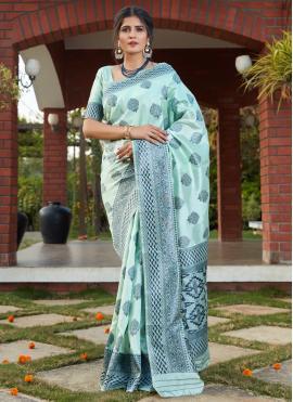 Turquoise Banarasi Silk Festival Designer Traditional Saree