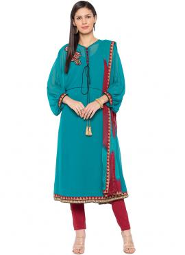 Turquoise Embroidered Readymade Suit