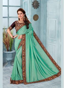 Turquoise Embroidered Silk Classic Designer Saree