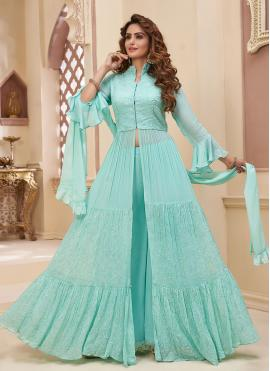 Turquoise Fancy Georgette Readymade Suit
