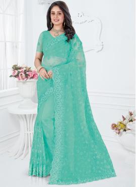Turquoise Reception Classic Saree