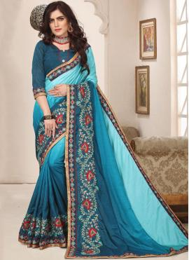 Turquoise Resham Party Trendy Saree