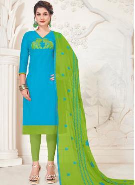 Turquoise Silk Churidar Salwar Kameez