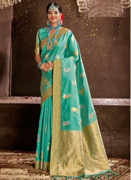 Turquoise Weaving Art Silk Designer Traditional Saree