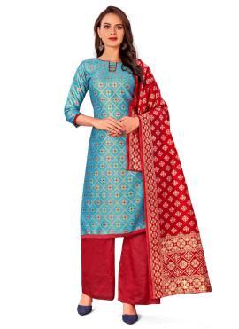 Turquoise Weaving Reception Designer Palazzo Salwar Kameez