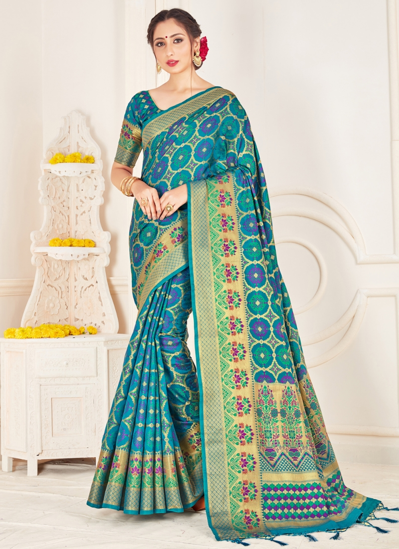 Turquoise Woven Festival Traditional Saree