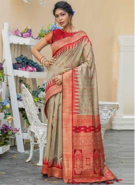 Tussar Silk Beige Weaving Classic Designer Saree