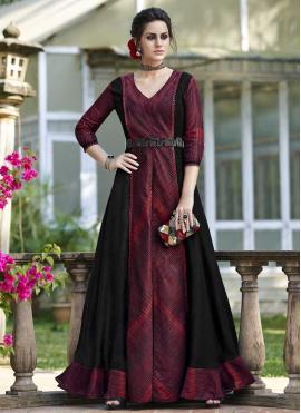 Tussar Silk Black and Maroon Designer Gown