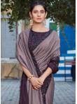 Tussar Silk Embroidered Purple Designer Saree - 1