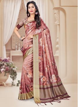 Tussar Silk Pink Digital Print Printed Saree