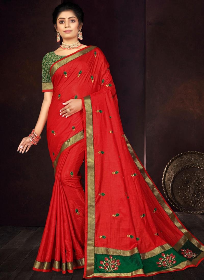 Unique Embroidered Vichitra Silk Traditional Saree