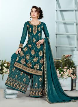 Unique Georgette Embroidered Rama Designer Pakistani Suit