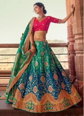 Urbane Blue and Green Embroidered Silk Lehenga Choli
