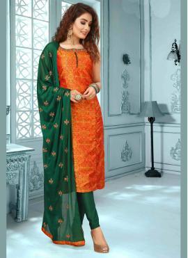 Urbane Orange Embroidered Art Silk Designer Salwar Suit
